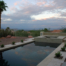 Custom Swimming Pool And Spa With Travertine Deck Sunset View
