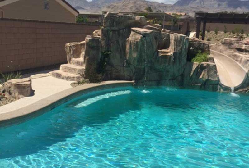 Rock Waterfall Slide In Freeform Custom Swimming Pool · Artistic ...