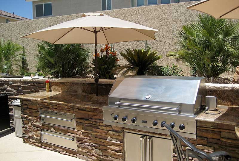 View Larger Image. ; . Custom BBQ Kitchen Island With Stacked Stone ...