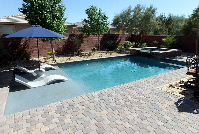 Custom small rectangular pool with raised spa tanning for Pool design with tanning ledge